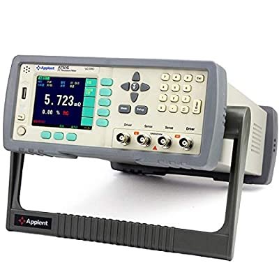 High Accuracy DC Resistance Meter Micro Ohm Meter Tester 1u-20M Ohm RS232 Handler Built-in Comparator 3.5'' TFT LCD AT516