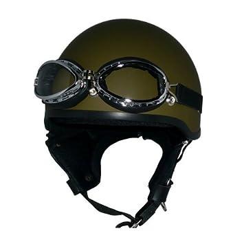 リード工業 /(頭囲 57cm~60cm未満/) バイクヘルメット ダメージブラウン WB-33 FREE ゴーグル付き ハーフ ビンテージレザー