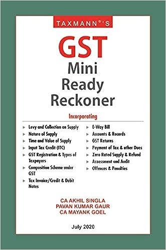 Taxmann's GST Mini Ready Reckoner-Amended upto 1st July 2020 (July 2020 Edition)