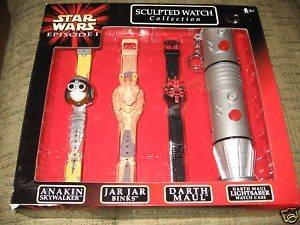 Star Wars Episode 1 Sculpted Watch Collection Anakin Skywalker, Jar Jar Binks and Darth Maul