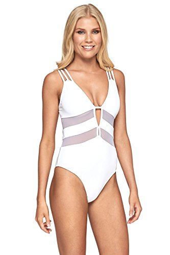 175e665826e Jets Australia by Jessika Allen Women s One Piece Plunge Swimsuit White 12