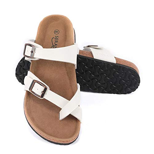 Seranoma Women's Toe Ring Cork Sandal | Classic Ladies Sandal | Flat Footed Dual Adjustable Buckle | Breathable Open Toe Slide | Comfort White ()