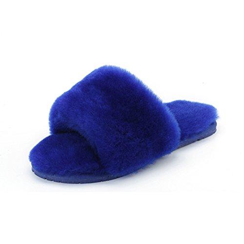 Sheepskin Lambskin Fur Home Fur Blue Home Slippers Slippers Shoes Slippers Wool Slippers Millffy wg4qTF
