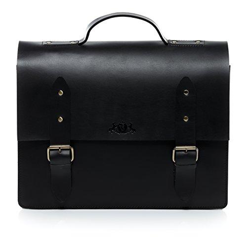 inch VAIN BRIGHTON 15 shoulder real large briefcase Black laptop laptop stable women bag leather bag work fits amp; SID 4 unisex men character dispatch black XL strap AqwHO5z