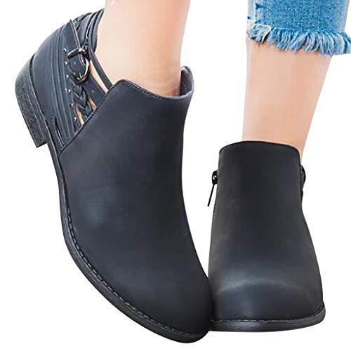 (Hemlock Women Black Boots Low-Heele Zipper Shoes Lady Work Shoes Ankle Short Boots PU Leather Shoes)
