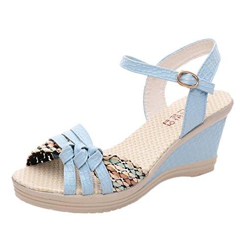 Ansenesna Sandalen Damen Boho Keilabsatz Plateau Wedge Peep Toe Sommerschuhe Offen Knöchel Schnalle Schuhe Blau