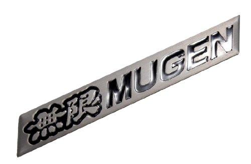 Mugen Embossed Black on Silver Real Aluminum Auto Emblem Badge Nameplate for Honda Acura Civic Fit Prelude Integra RSX Accord Si RSX GSR TSX CL TL GSR LS EK9 EK EG Type-R S JDM other models