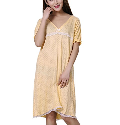 JIANGTAOLANG Women 100% Cotton Summe Autumn Sleepshirt Thin Nightdress Lounge Blue Yellow Pink