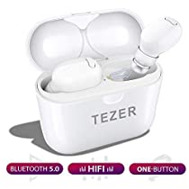 Wireless Earbuds TEZER X20 Bluetooth 5.0 True Wireless Earphones IPX5 Automatic Connection 36H Playtime Hi-Fi Stereo with Built-in Mic and Charging Case for Travelling andExercise