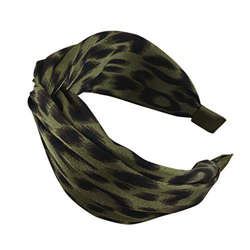 Headbands,Women's Leopard Fashion Casual Hair band Bow Hair Strap (Green)
