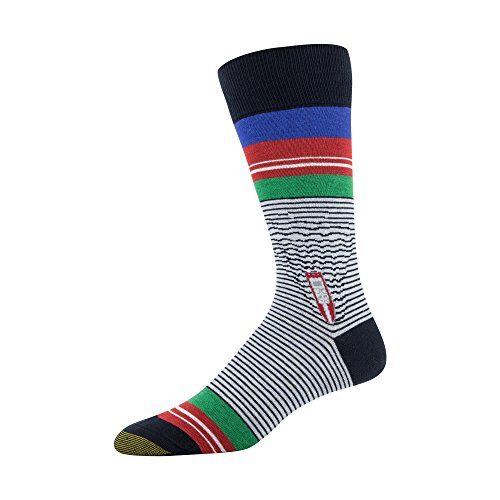 Gold Toe Men's Printed Novelty Graphic Fashion Dress Crew Socks, 1 Pair, making waves, Shoe Size: 6-12.5