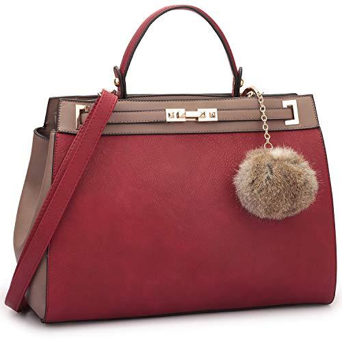 Womens Top Belted Twist Lock Satchel Bag Classic Tote Handbag with Decorative PomPom