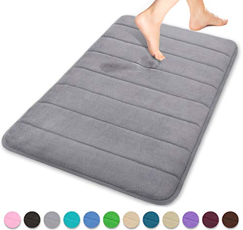 Memory Foam Bath Mat Large Size 31.5 by 19.8 Inches, Soft and Comfortable, Maximum Absorbent, Non-Slip, Thick, Machine Wash, Easier to Dry for Bathroom Floor Rug, Grey