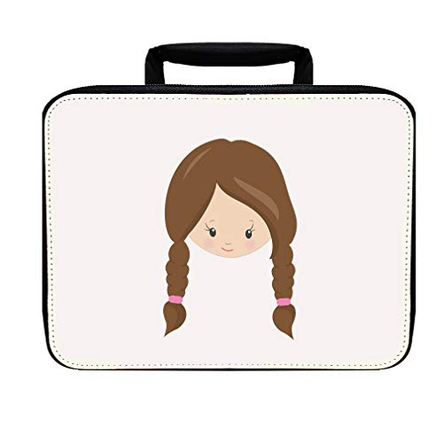 Paper Doll Brown Two Braids Nylon Insulated Lunch Box Food Bag