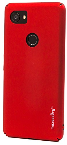 se Maxessory [Operative] Ultra-Thin Full-Body Lightweight Impact Slim Hard-Back Protective Premium Drop-Proof Plain Shell Cover Red For Google Pixel XL 2 (Hardback Case)