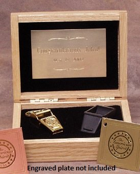 Gold Colored Brass Award Whistle with Safe-T-Tip in a Wooden Gift Box. Made in the USA!