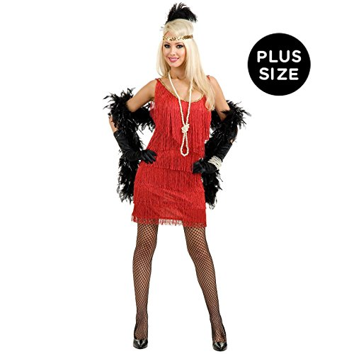Charades Women's Plus-Size Fashion Flapper Dress, Red, 1X
