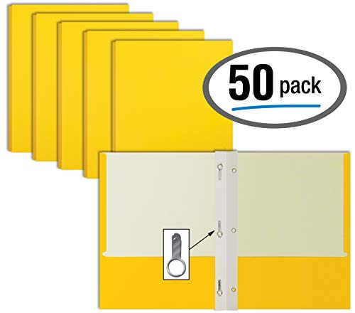Yellow Paper 2 Pocket Folders with Prongs, 50 Pack, by Better Office Products, Matte Texture, Letter Size Paper Folders…