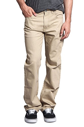 Victorious Mens Straight Fit Color and Raw Denim Jeans DL105 - KHAKI - 38/30 - Classic Raw Denim