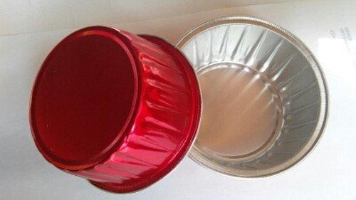 "KEISEN 3 2/5"" mini Disposable Aluminum Foil Cups 120ml for Muffin Cupcake Baking Bake Utility Ramekin Cup Red 100/PK"