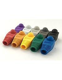 accessbuy 100 Pcs Mixed Color Cable de red CAT5E Cat6 RJ45 Ethernet Alivio de Tensión Botas Cable conector Plug Cover