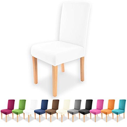 Gräfenstayn Universal-Stuhlhusse Charles in verschiedenen Farben für runde und eckige Stuhllehnen (Weiß)