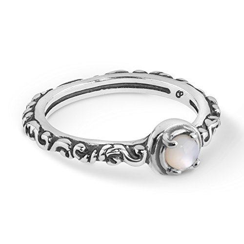 Carolyn Pollack Sterling Silver White Mother of Pearl Gemstone Single Round Stone Band Ring Size 6