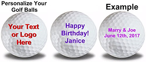 Personalized Text on White Golf Balls 12 Pack