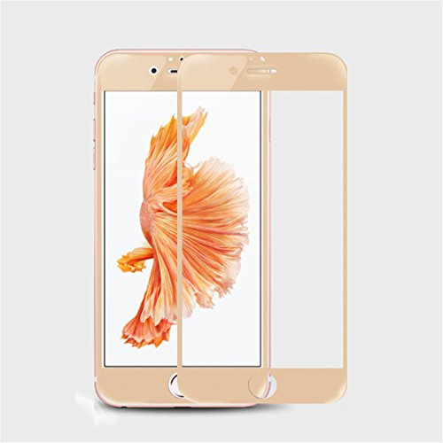 Devia [3D Curved] Tempered Glass Screen Protector Innovation Glossy Full Front Panel Edge to Edge Coverage Film for Apple iPhone 6 Plus/iPhone 6s Plus[Retail Packaging](Champagne Gold-0.26mm)