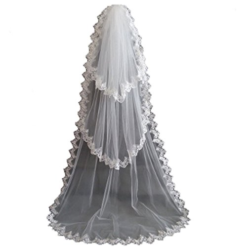 AliceHouse Women's 3T 3 Tier Lace Chapel Bridal Wedding Veils Cathedral 11055 White