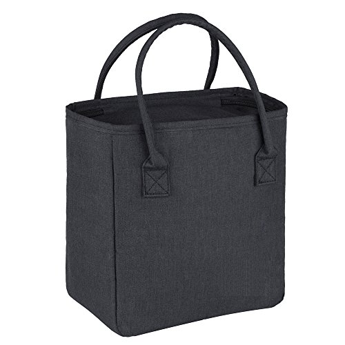 Lunch Tote Bags for Women,Reusable Insulated Lunch Bag Handbags for Women Adults Use for Work,School,Picnic,On The Go (Black)