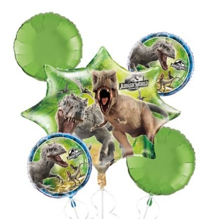 Price comparison product image Jurassic World Balloon Bouquet - Dinosaur Balloons - 5 Count