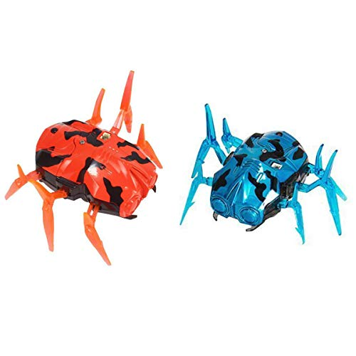Fstop Labs 2 Pack Laser Tag Bug Spider Moving Robot, Space Blaster Training Bot, Robot Nano Bug Striker LED Laser Tag for Kids Game Toy Indoor and Outdoor Activity (Orange & Blue)