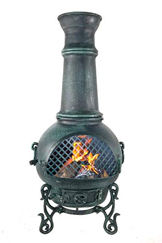 The Blue Rooster CAST ALUMINUM Gatsby Wood Burning Chiminea in Antique Green.