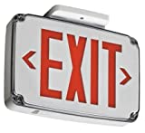 Wet Location Exit Sign, Red, 1Side, W Bat.