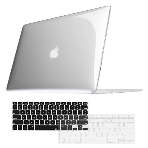 Fintie MacBook Air 13 Inch Snap On Hard Case + [2-Pack] Keyboard Cover (Black/Clear) - 3 in 1 Combo for MacBook Air 13.3
