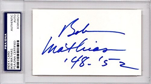 Bob Mathias Autographed Signed Track and Field Decathlete 3x5 Inch Index Card - 1948 and 1952 Olympic Gold Medal - Deceased 2006 - PSA/DNA Authenticity (COA) - PSA Slabbed Holder from Sports Collectibles Online
