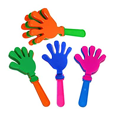 Hand Clappers 7.5 Inch In Assorted Bright Colors - Fun For Kids Party Favors And Prizes - Pack Of 12 Party Noisemakers: Toys & Games