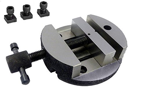 "Caste Iron 80 mm Round Vice for 3"" (75 mm) & 4"" (100 mm) Rotary Table + Fixing T-Nuts"