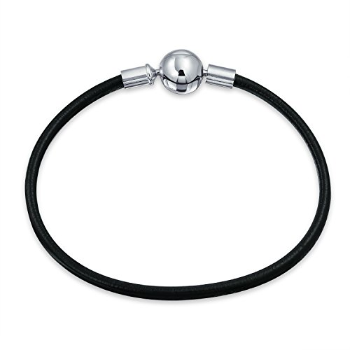 (Starter Black Genuine Leather Bracelet For Women Teen Fits European Beads Charm 925 Sterling Silver Barrel Clasp 7 Inch)