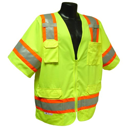 Radians SV63GM Polyester Class 3 Two Tone Surveyor Safety Vest, Medium, Green by Radians
