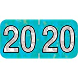 """Quick Ship 2020 Year Labels, PMA Holographic, Aqua, 3/4""""H x 1-1/2""""W, Laminated, Roll of 500, Ships in 1 Business Day!"""