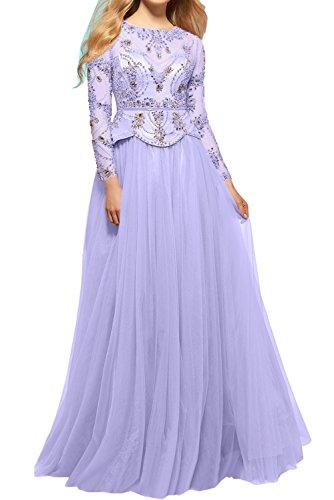 Rund Lavender Bodenlang Ballkleider Blau mit Exklusive Promkleider 2017 Langarm Damen Ivydressing Stein Neu Tuell Abendkleider qAFxT6E