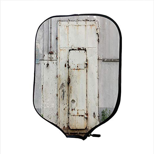 Neoprene Pickleball Paddle Racket Cover Case,Industrial Decor,Closed Worn Out Rusty Iron Door Abandoned Building Factory Picture Decorative,Beige Brown Green,Fit For Most Rackets - Protect Your ()