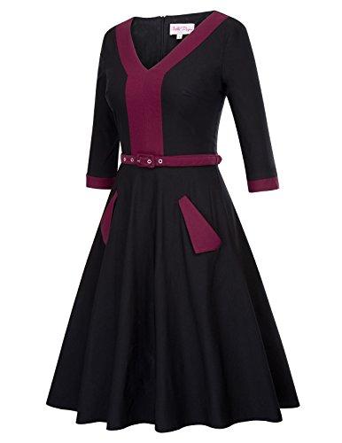Poque 4 wine Belle BP481 Neck Vintage V A 3 Color Line Sleeve Dress Black Contrast Swing pdtH4q