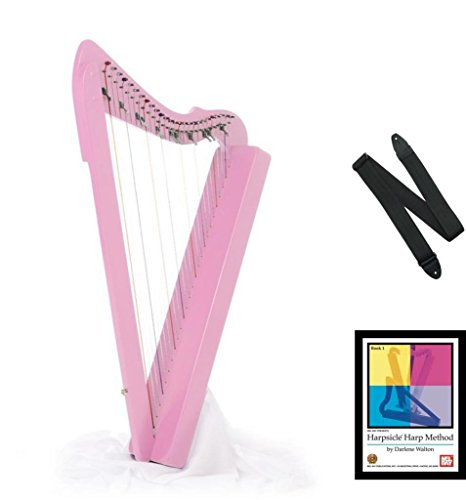 Harpsicle Harps by Rees Harps 26 String Lap Harp Flatsicle w/ Book & Strap, Pink by Harpsicle Harps