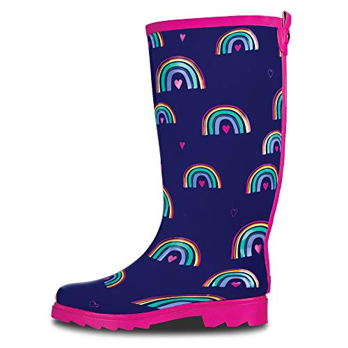 (LONECONE Women's Patterned Mid-Calf Rain Boots, Hearts and Rainbows, 7)