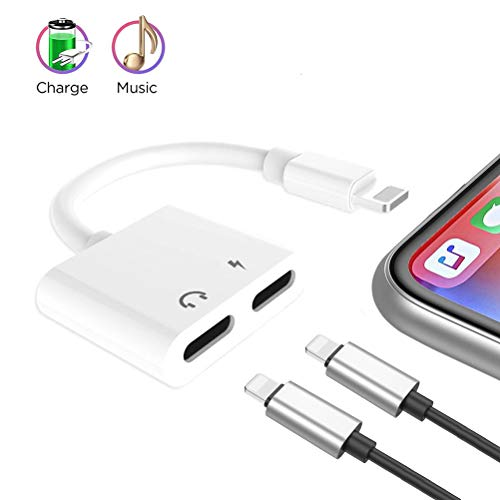 Compatible Charger and Headphone Adapter Applicable for iPhone max X / 7/7 Plus / 8/8 Plus,Supfox 2 in 1 Dual Headphones Adapter and Splitter Design for Calling & Remote & Charger & Music