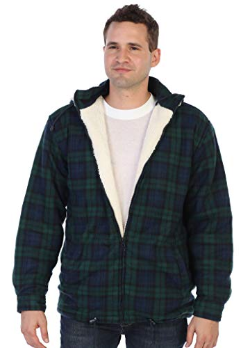 Gioberti Mens Sherpa Lined Flannel Jacket with Removable Hood, Green/Navy, S