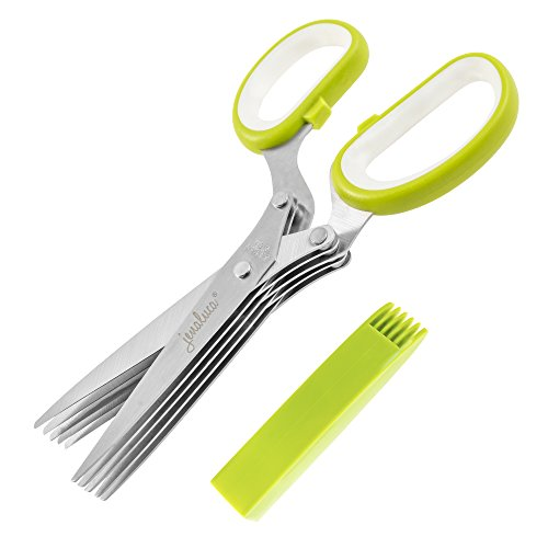 Jenaluca Herb Scissors Stainless Steel - Multipurpose Kitchen Shear with 5 Blades and Cover with Cleaning Comb Herb Shears